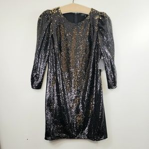 Eloquii Sequined Gold/black long sleeve dress